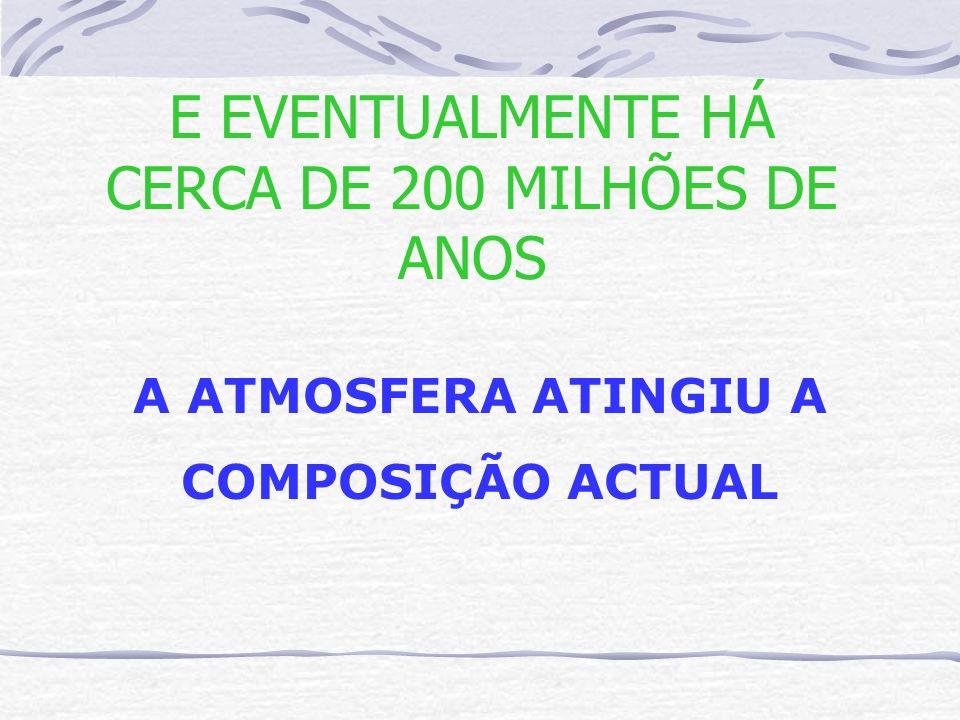 E EVENTUALMENTE HÁ CERCA DE 200 MILHÕES DE ANOS A ATMOSFERA ATINGIU A COMPOSIÇÃO ACTUAL