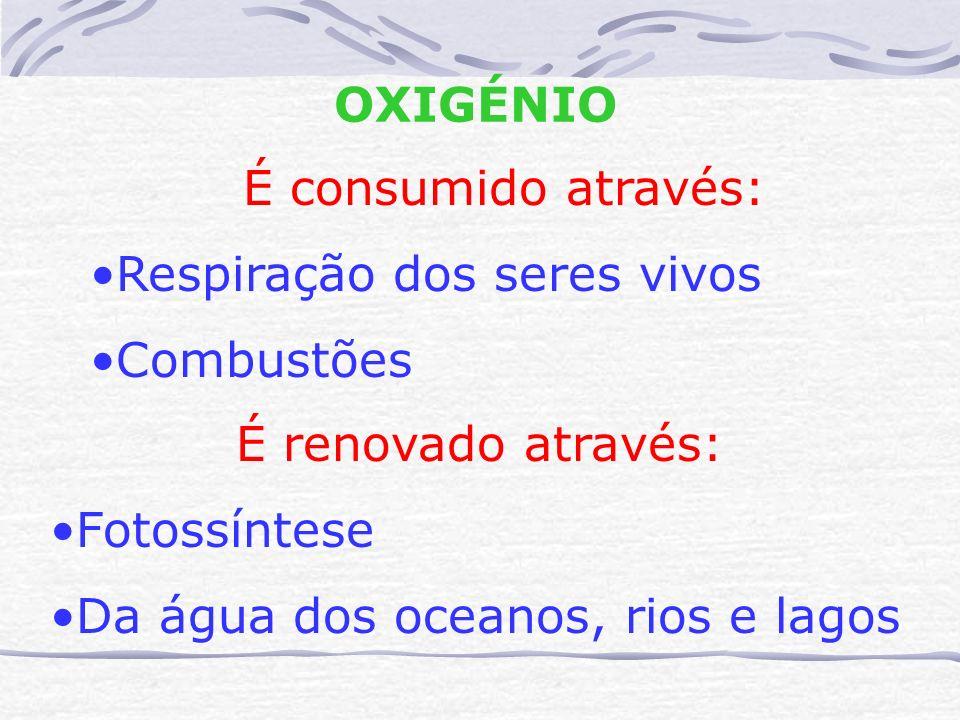 OXIGÉNIO É consumido através: Respiração dos seres vivos Combustões É renovado através: Fotossíntese Da água dos oceanos, rios e lagos