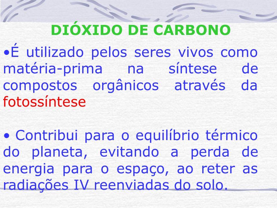DIÓXIDO DE CARBONO É utilizado pelos seres vivos como matéria-prima na síntese de compostos orgânicos através da fotossíntese Contribui para o equilíb