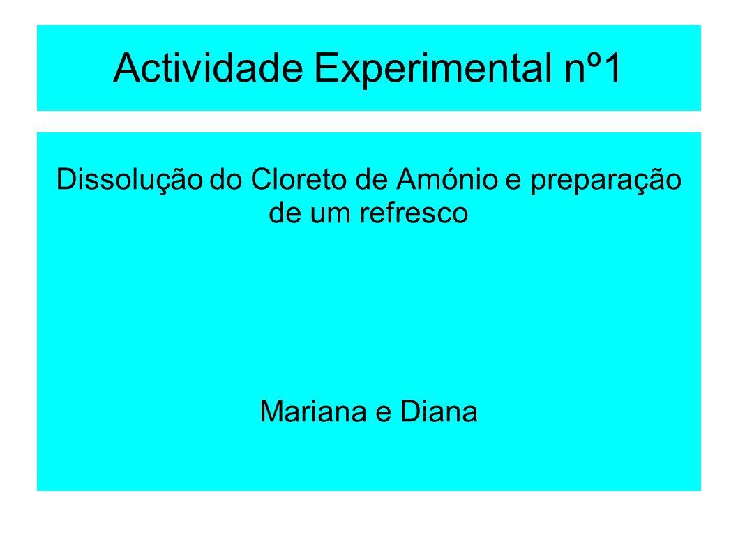 Actividade Experimental nº1 Dissolução do Cloreto de Amónio e preparação de um refresco Mariana e Diana