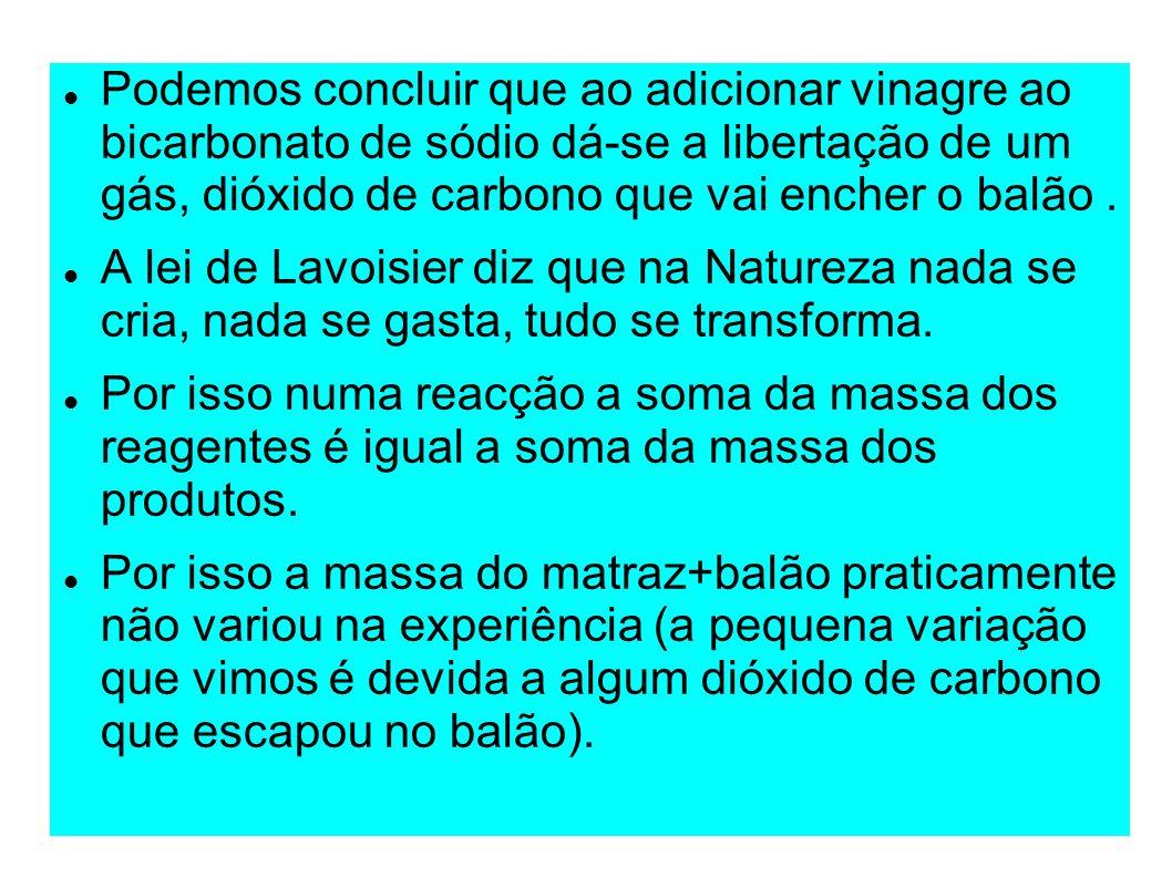 Podemos concluir que ao adicionar vinagre ao bicarbonato de sódio dá-se a libertação de um gás, dióxido de carbono que vai encher o balão. A lei de La