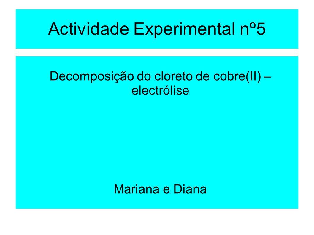 Actividade Experimental nº5 Decomposição do cloreto de cobre(II) – electrólise Mariana e Diana