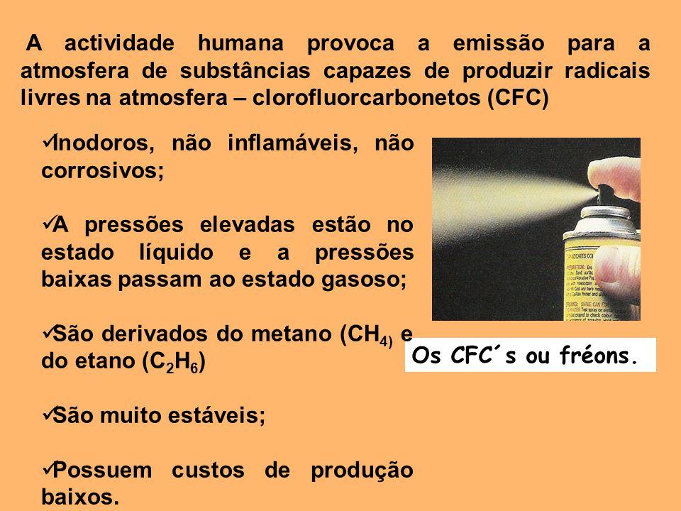 A actividade humana provoca a emissão para a atmosfera de substâncias capazes de produzir radicais livres na atmosfera – clorofluorcarbonetos (CFC) Os