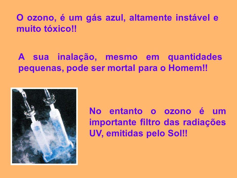 O ozono, é um gás azul, altamente instável e muito tóxico!! A sua inalação, mesmo em quantidades pequenas, pode ser mortal para o Homem!! No entanto o