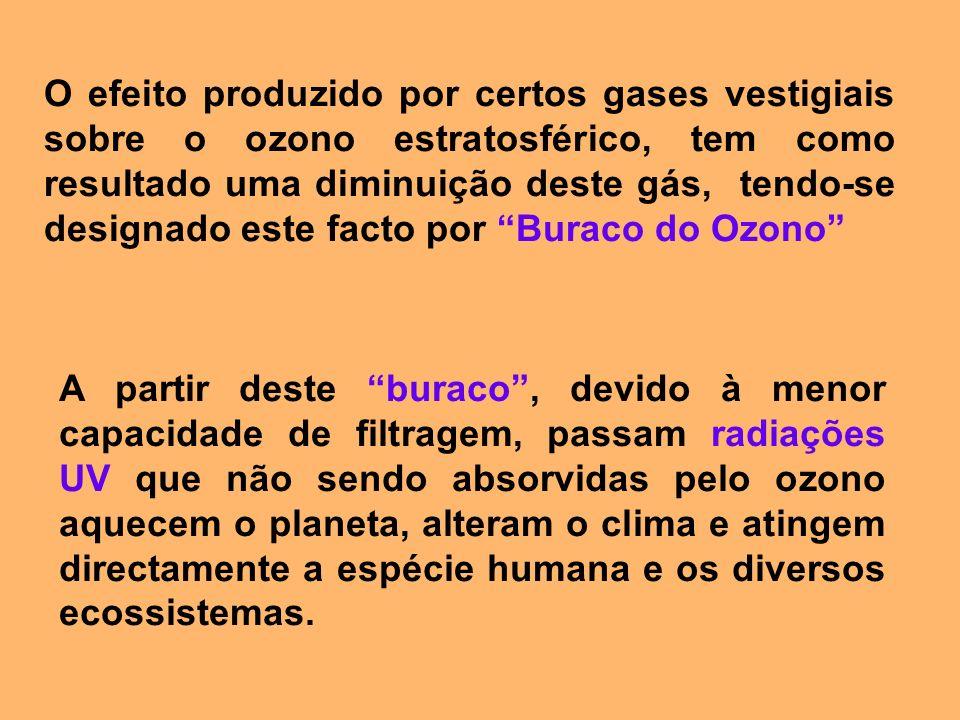 O efeito produzido por certos gases vestigiais sobre o ozono estratosférico, tem como resultado uma diminuição deste gás, tendo-se designado este fact