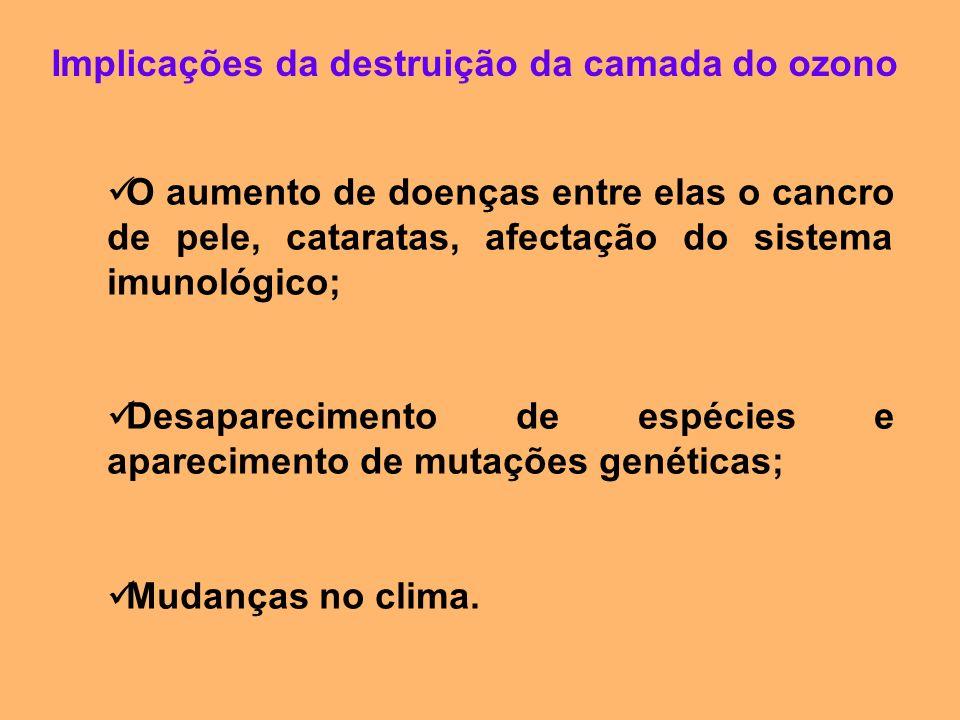 Implicações da destruição da camada do ozono O aumento de doenças entre elas o cancro de pele, cataratas, afectação do sistema imunológico; Desapareci