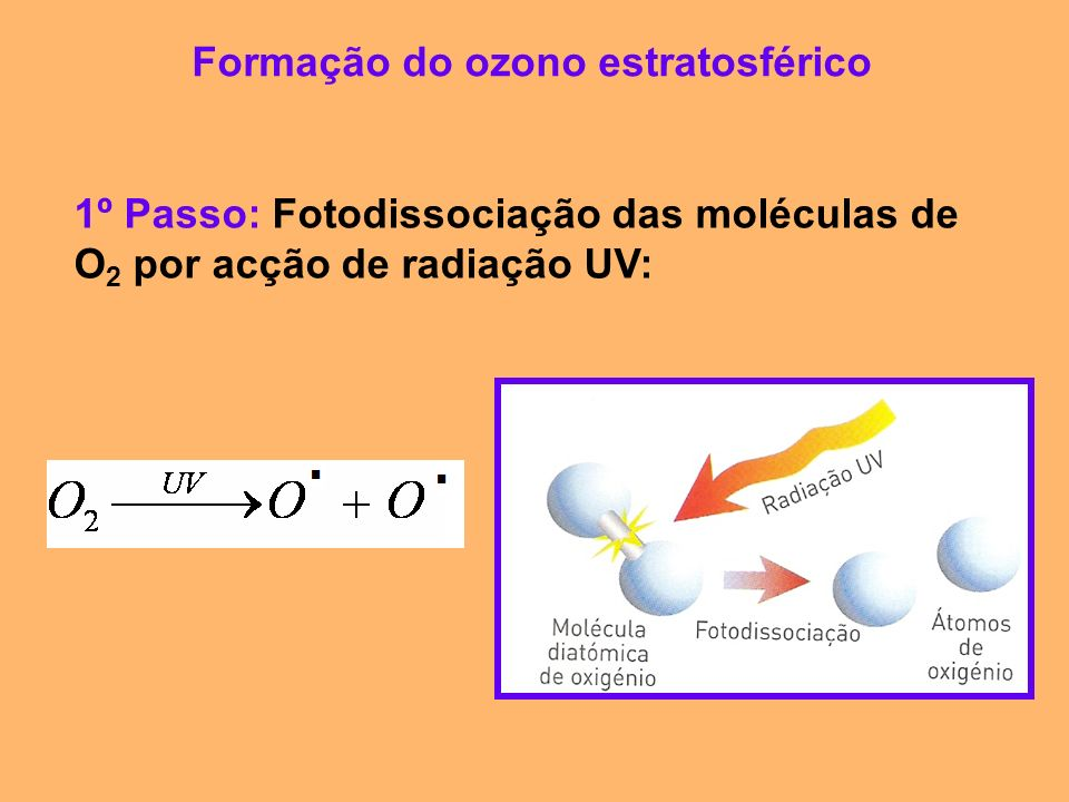 Formação do ozono estratosférico 1º Passo: Fotodissociação das moléculas de O 2 por acção de radiação UV: