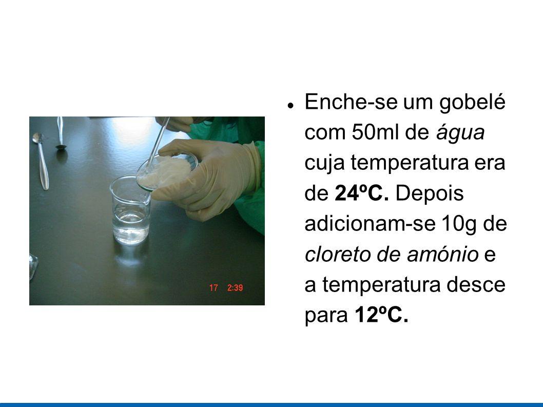 Enche-se um gobelé com 50ml de água cuja temperatura era de 24ºC. Depois adicionam-se 10g de cloreto de amónio e a temperatura desce para 12ºC.
