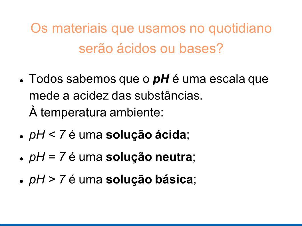Os materiais que usamos no quotidiano serão ácidos ou bases? Todos sabemos que o pH é uma escala que mede a acidez das substâncias. À temperatura ambi