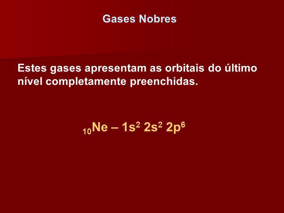 Gases Nobres Estes gases apresentam as orbitais do último nível completamente preenchidas. 10 Ne – 1s 2 2s 2 2p 6