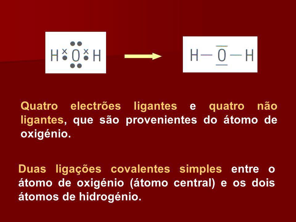 Quatro electrões ligantes e quatro não ligantes, que são provenientes do átomo de oxigénio. Duas ligações covalentes simples entre o átomo de oxigénio