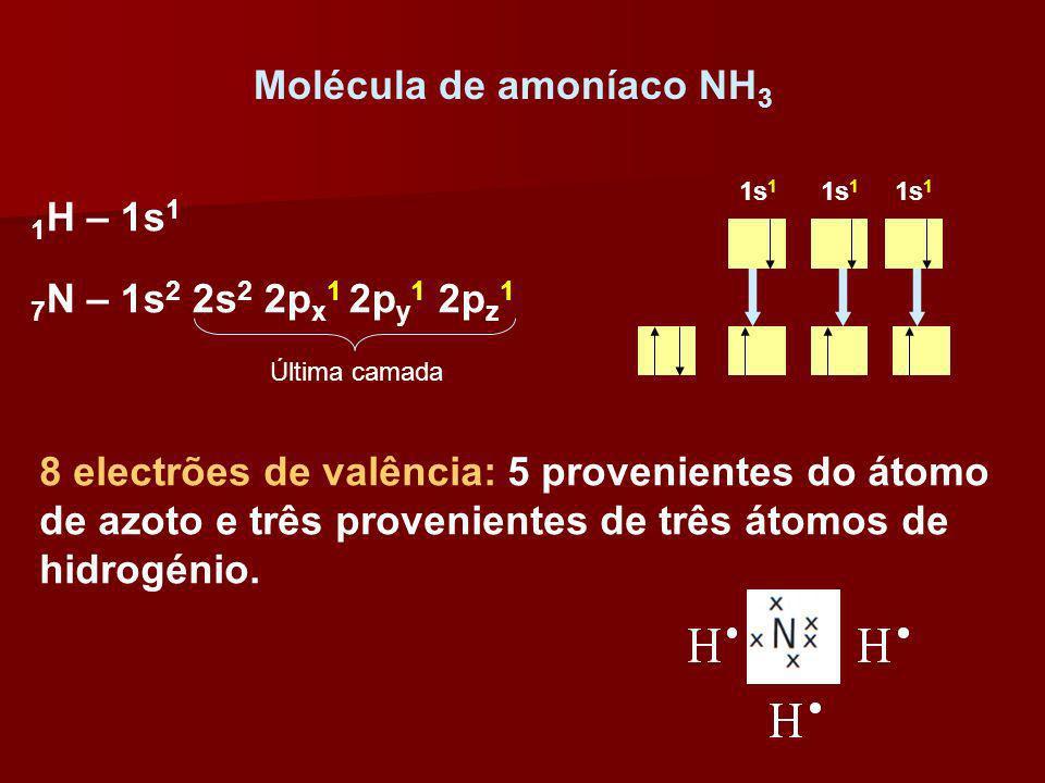 Molécula de amoníaco NH 3 8 electrões de valência: 5 provenientes do átomo de azoto e três provenientes de três átomos de hidrogénio. 1 H – 1s 1 7 N –