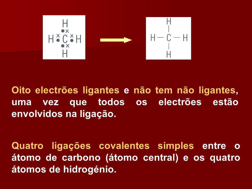 Oito electrões ligantes e não tem não ligantes, uma vez que todos os electrões estão envolvidos na ligação. Quatro ligações covalentes simples entre o