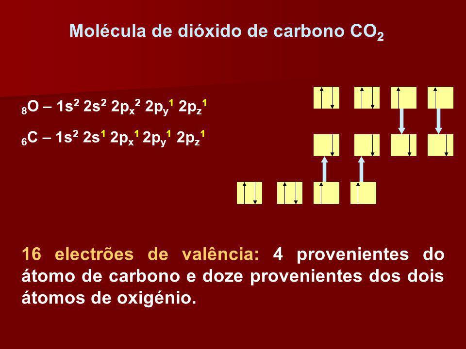 Molécula de dióxido de carbono CO 2 16 electrões de valência: 4 provenientes do átomo de carbono e doze provenientes dos dois átomos de oxigénio. 8 O