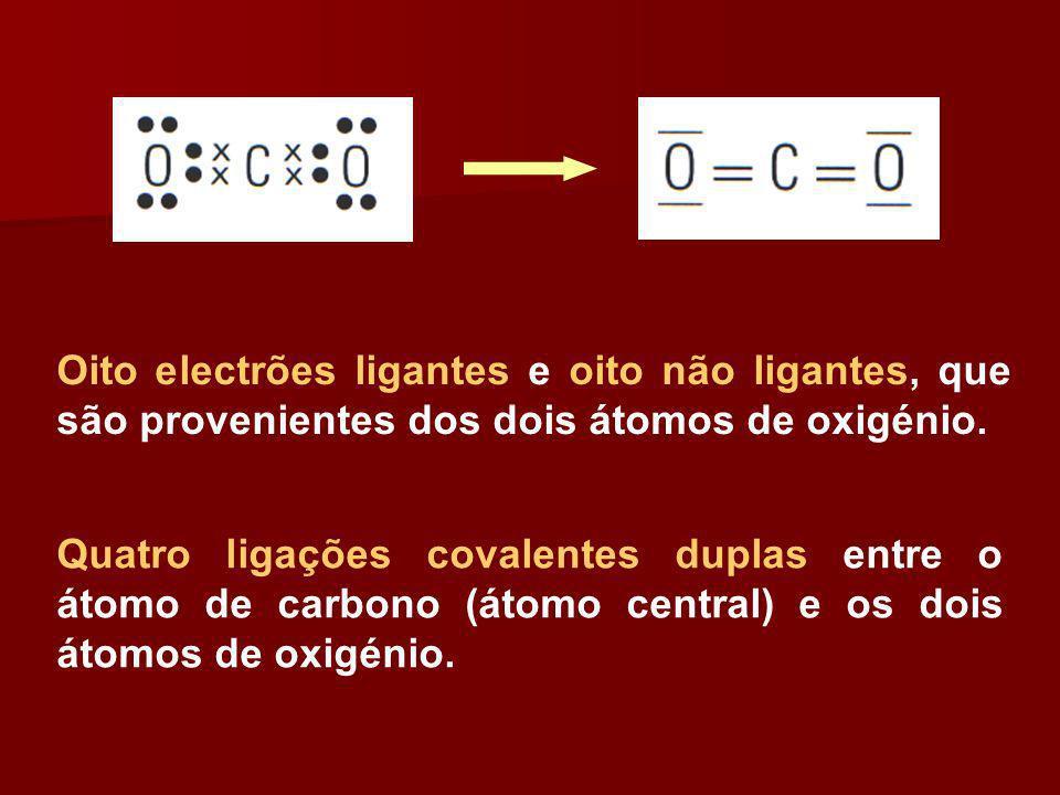 Oito electrões ligantes e oito não ligantes, que são provenientes dos dois átomos de oxigénio. Quatro ligações covalentes duplas entre o átomo de carb