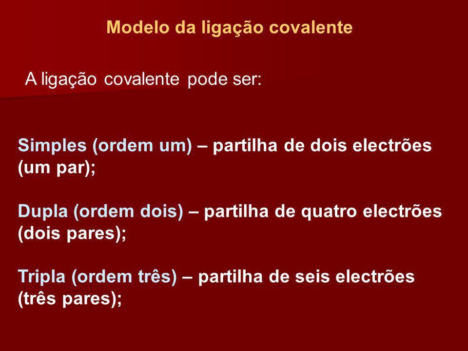 Modelo da ligação covalente A ligação covalente pode ser: Simples (ordem um) – partilha de dois electrões (um par); Dupla (ordem dois) – partilha de q