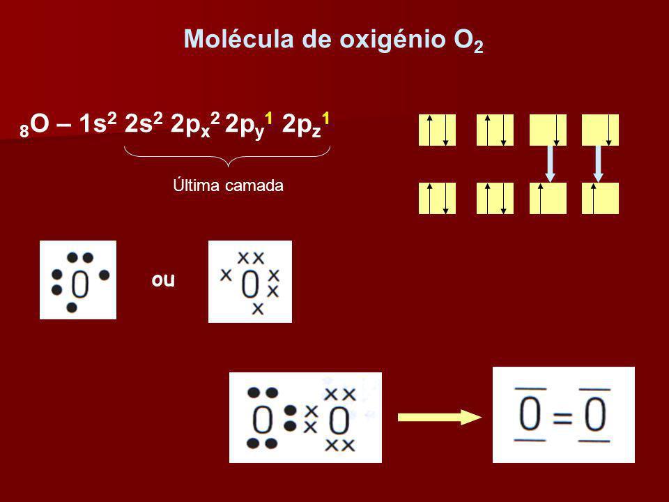 Molécula de oxigénio O 2 ou 8 O – 1s 2 2s 2 2p x 2 2p y 1 2p z 1 Última camada