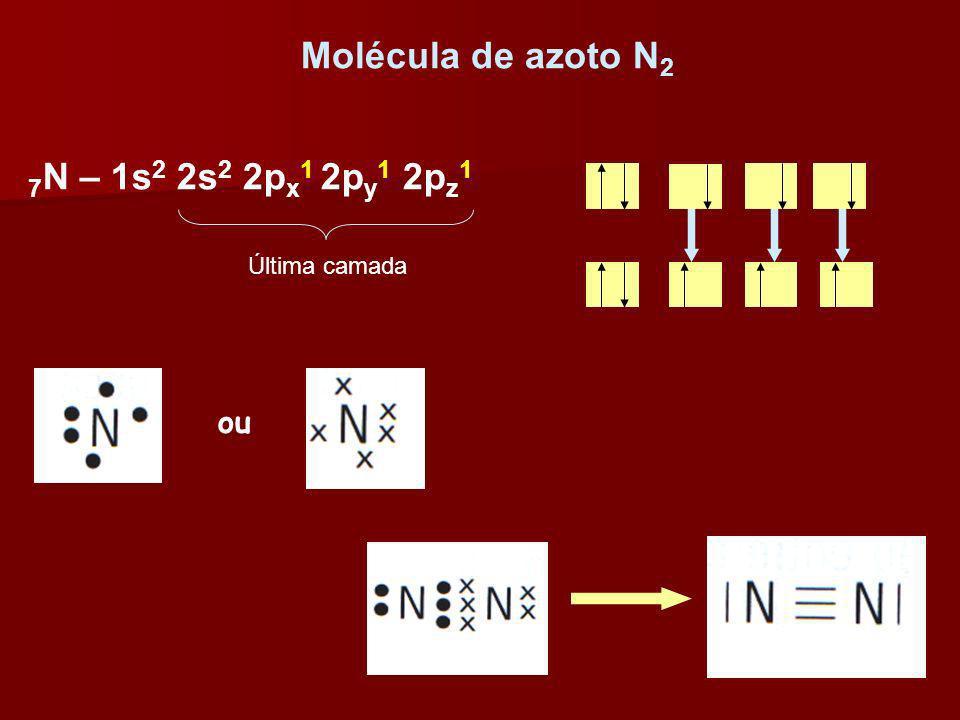 Molécula de azoto N 2 ou 7 N – 1s 2 2s 2 2p x 1 2p y 1 2p z 1 Última camada