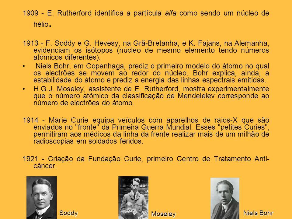 1909 - E. Rutherford identifica a partícula alfa como sendo um núcleo de hélio. 1913 - F. Soddy e G. Hevesy, na Grã-Bretanha, e K. Fajans, na Alemanha