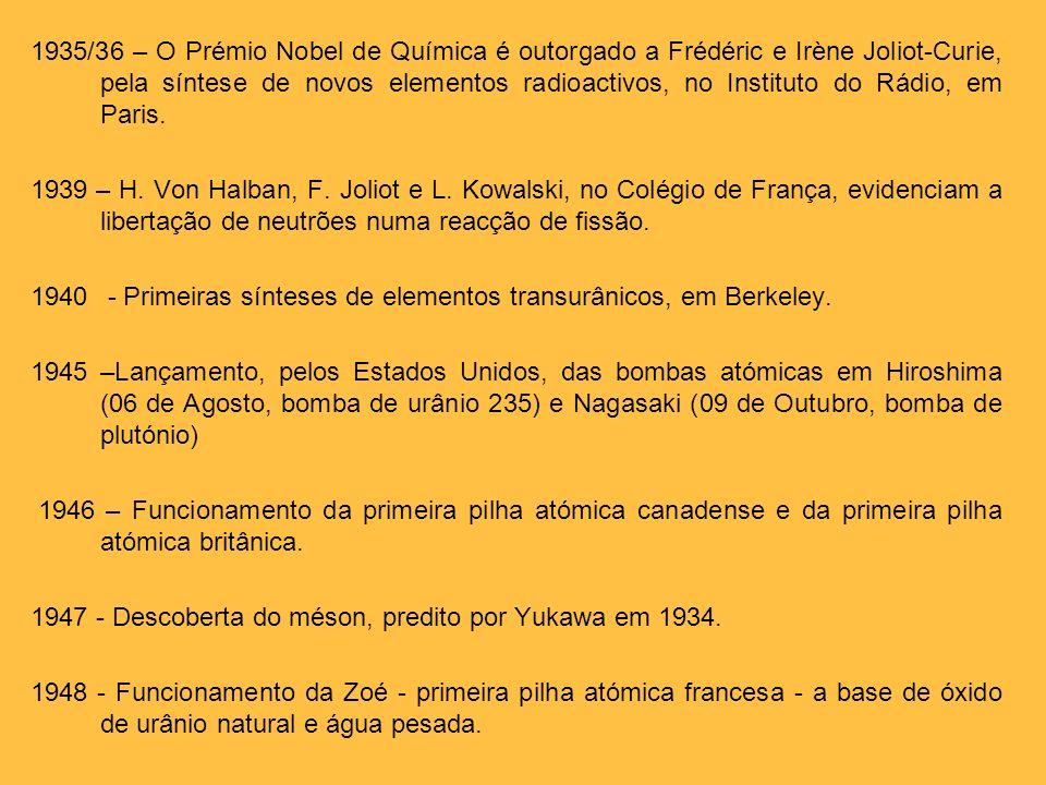 1935/36 – O Prémio Nobel de Química é outorgado a Frédéric e Irène Joliot-Curie, pela síntese de novos elementos radioactivos, no Instituto do Rádio,