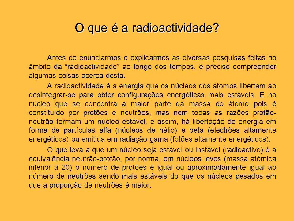 O que é a radioactividade? Antes de enunciarmos e explicarmos as diversas pesquisas feitas no âmbito da radioactividade ao longo dos tempos, é preciso