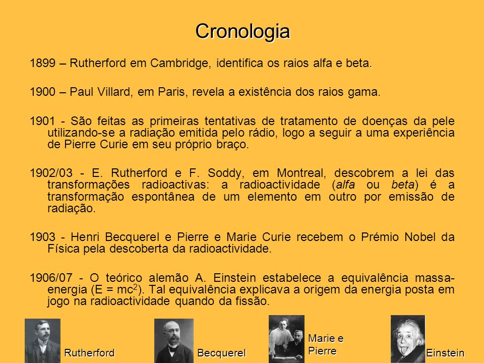 Cronologia. 1899 – Rutherford em Cambridge, identifica os raios alfa e beta. 1900 – Paul Villard, em Paris, revela a existência dos raios gama. 1901 -