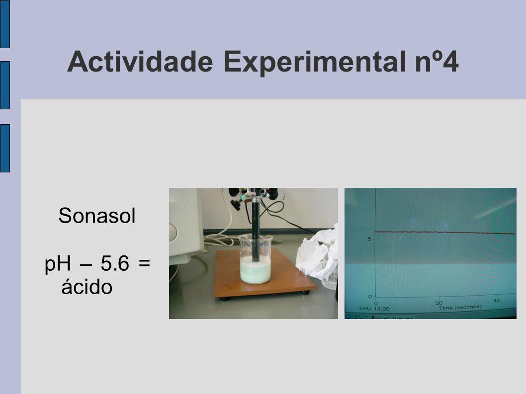 Actividade Experimental nº4 Sonasol pH – 5.6 = ácido