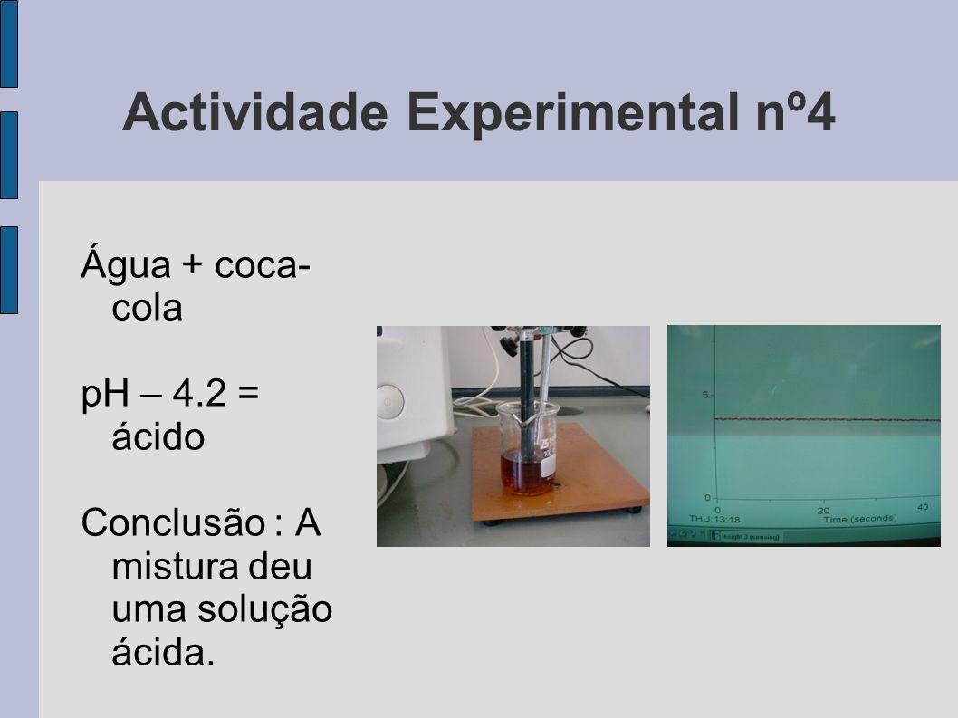 Actividade Experimental nº4 Água + coca- cola pH – 4.2 = ácido Conclusão : A mistura deu uma solução ácida.