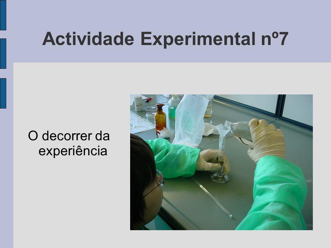Actividade Experimental nº7 O decorrer da experiência