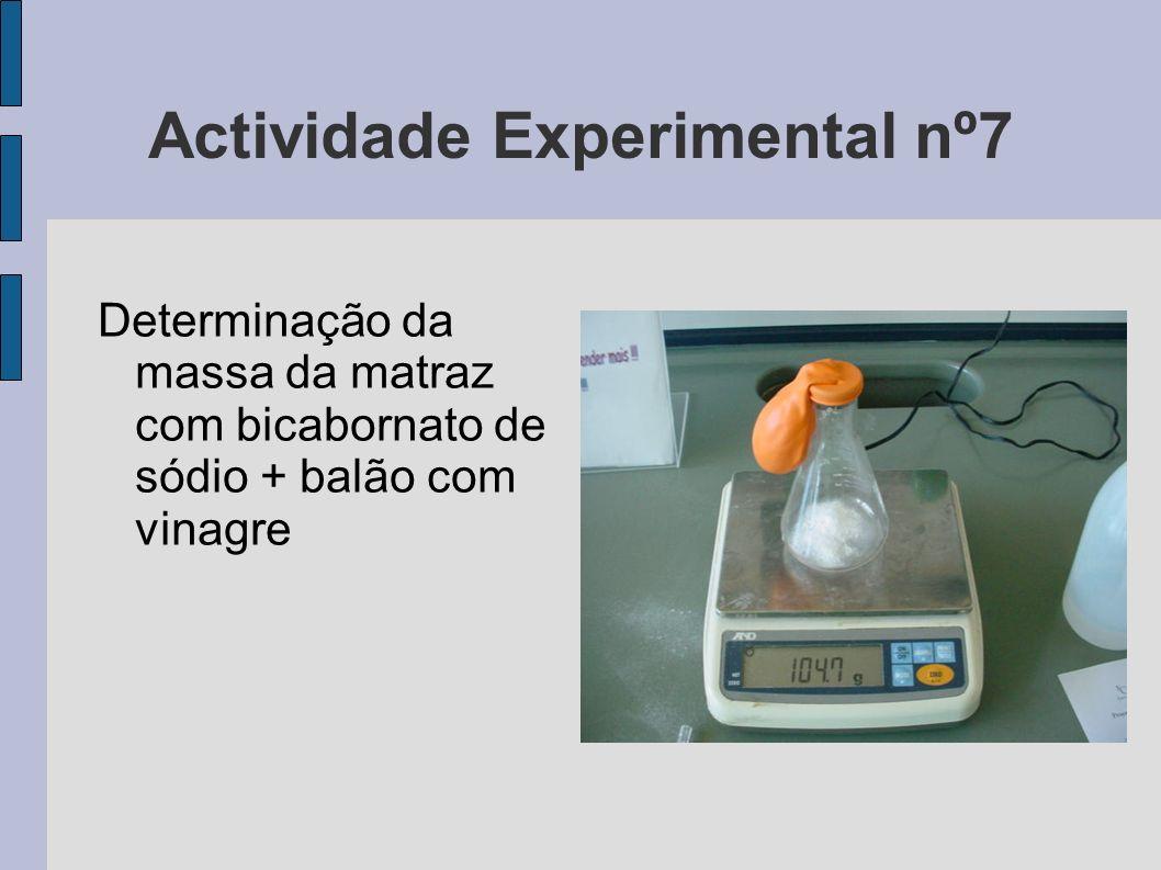 Actividade Experimental nº7 Determinação da massa da matraz com bicabornato de sódio + balão com vinagre
