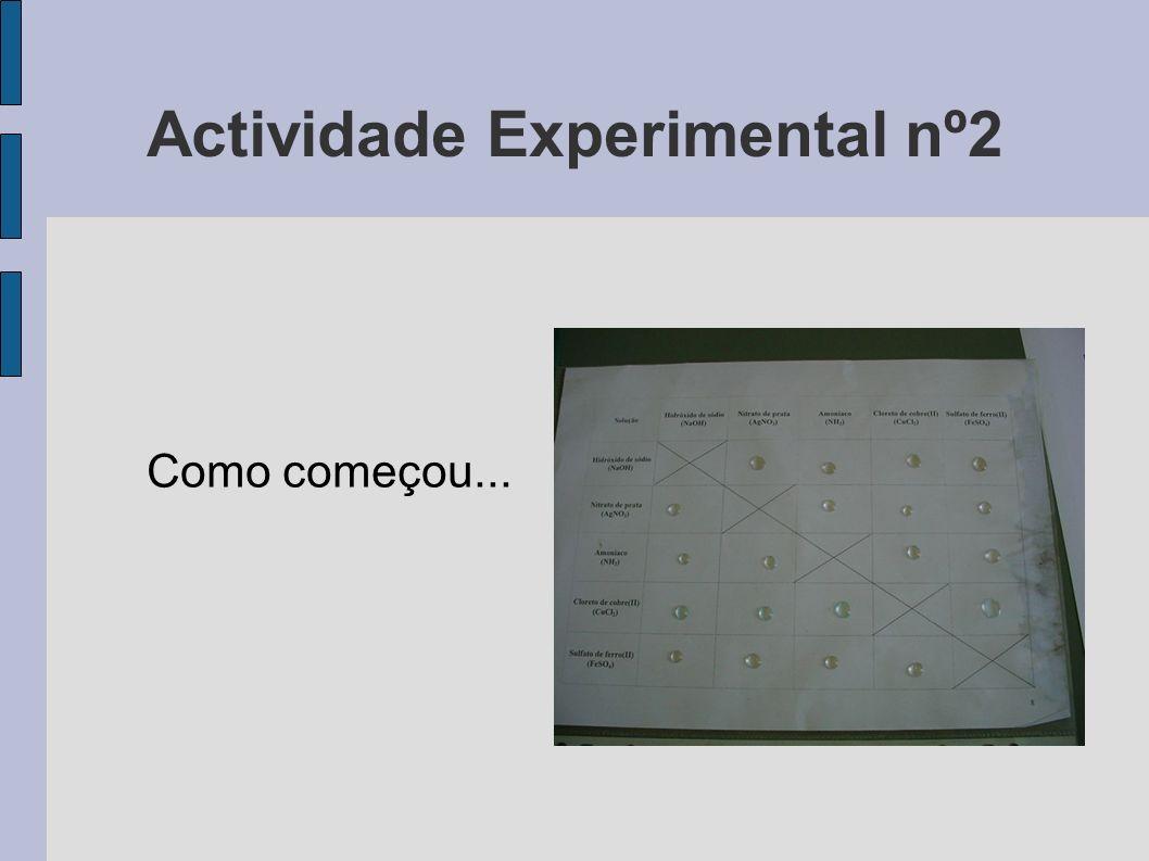 Actividade Experimental nº2 Como começou...