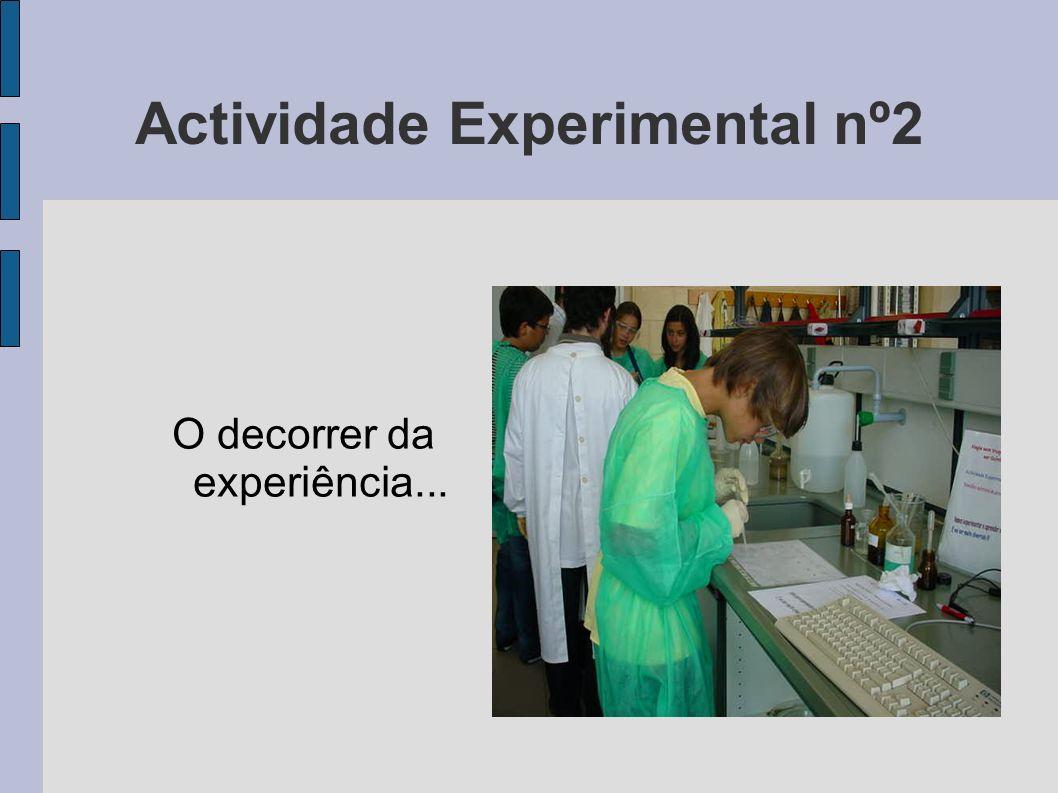 Actividade Experimental nº2 O decorrer da experiência...