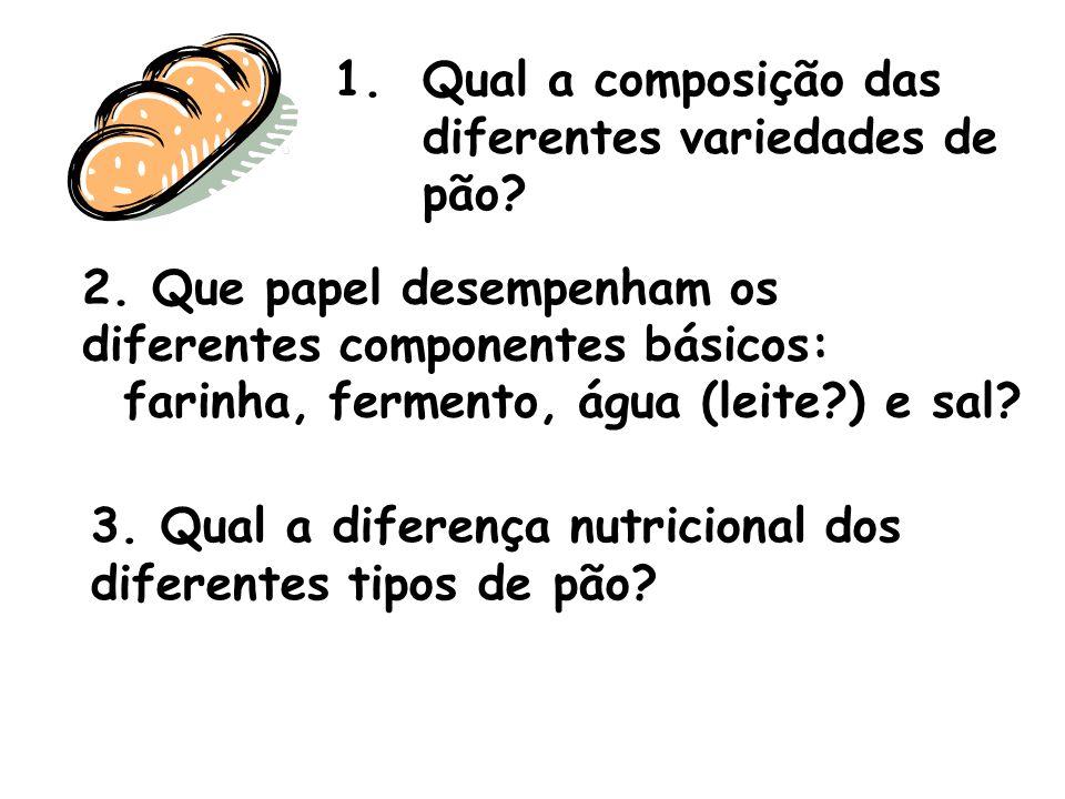 1.Qual a composição das diferentes variedades de pão? 2. Que papel desempenham os diferentes componentes básicos: farinha, fermento, água (leite?) e s