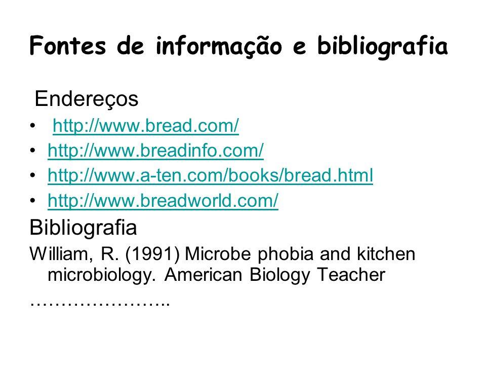 Fontes de informação e bibliografia Endereços http://www.bread.com/ http://www.breadinfo.com/ http://www.a-ten.com/books/bread.html http://www.breadwo