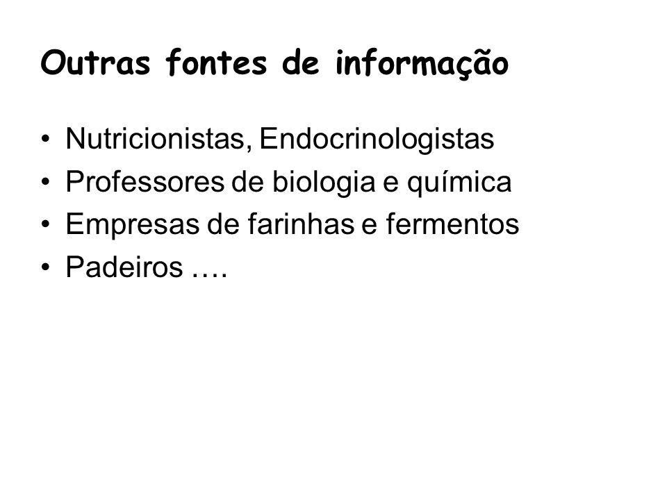 Outras fontes de informação Nutricionistas, Endocrinologistas Professores de biologia e química Empresas de farinhas e fermentos Padeiros ….