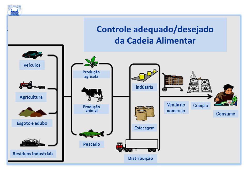Controle adequado/desejado da Cadeia Alimentar Veículos Agricultura Esgoto e adubo Resíduos industriais Produção agrícola Produção animal Pescado Esto