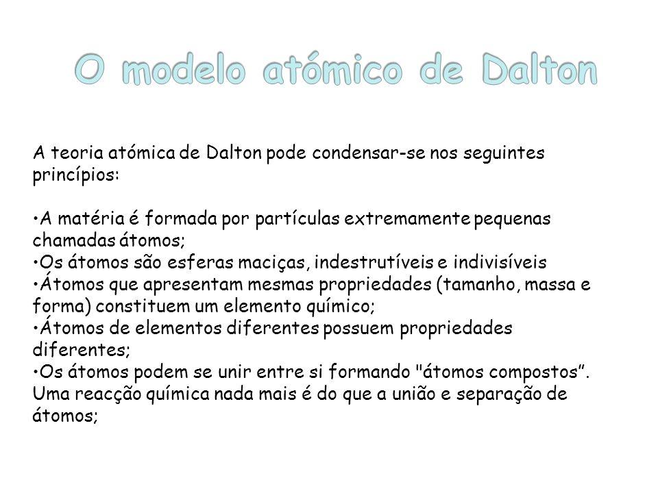 A teoria atómica de Dalton pode condensar-se nos seguintes princípios: A matéria é formada por partículas extremamente pequenas chamadas átomos; Os át