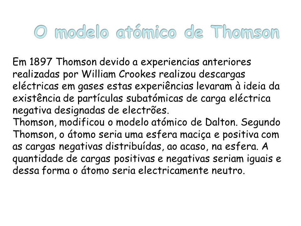 A teoria atómica de Thomson pode condensar-se nos seguintes princípios: Os átomos são divisíveis; A maior parte do átomo é constituída por uma esfera maciça de carga eléctrica positiva; No interior do átomo existirão incrustadas pequenas partículas de carga eléctrica negativa – Os electrões;