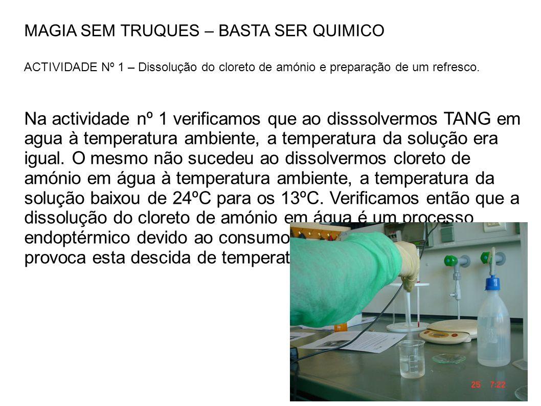MAGIA SEM TRUQUES – BASTA SER QUIMICO ACTIVIDADE Nº 1 – Dissolução do cloreto de amónio e preparação de um refresco.