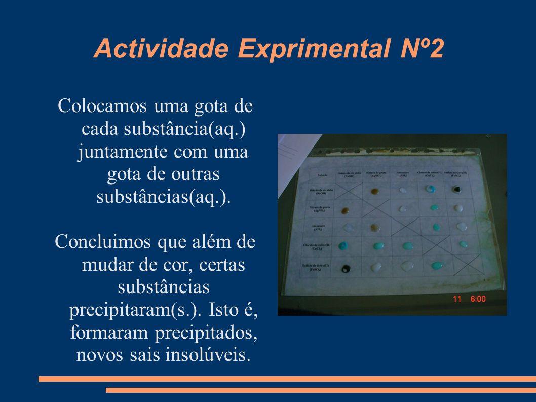 Actividade Exprimental Nº2 Colocamos uma gota de cada substância(aq.) juntamente com uma gota de outras substâncias(aq.). Concluimos que além de mudar