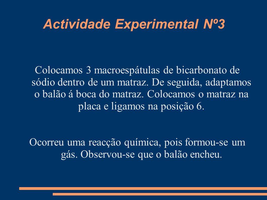 Actividade Experimental Nº3 Colocamos 3 macroespátulas de bicarbonato de sódio dentro de um matraz. De seguida, adaptamos o balão á boca do matraz. Co