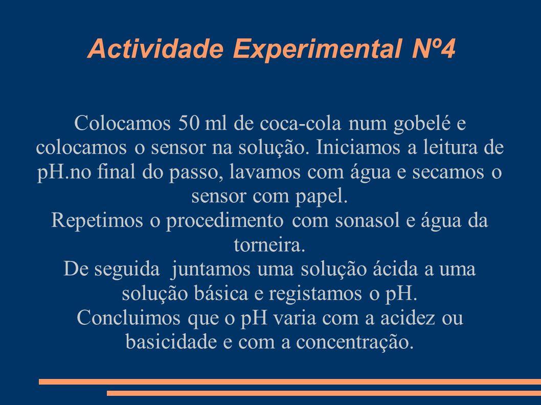 Actividade Experimental Nº5 Colocamos 80 ml de Cloreto de Cobre (II) num Gobelé e medimos a sua temperatura e o pH.
