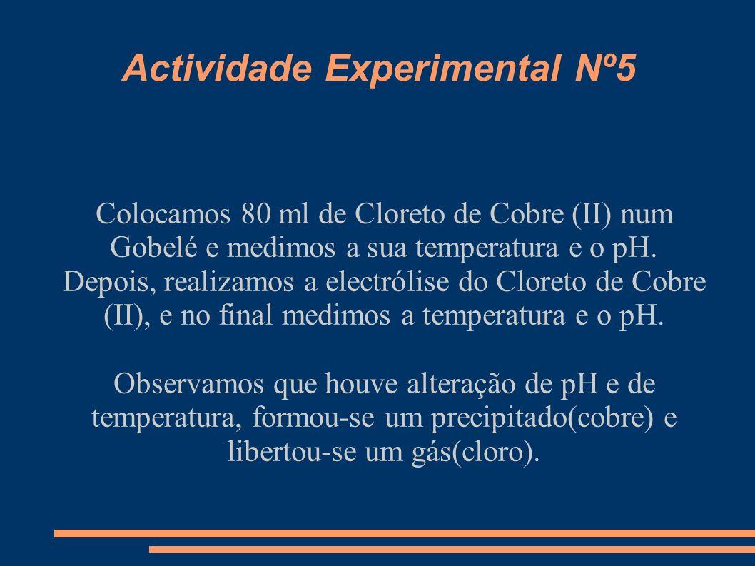 Actividade Experimental Nº6 Colocamos Limalhas de Ferro, Pedaços de Cobre e Pedaços de Zinco por cima de uma capa plástica e juntamos-lhes Nitrato de Prata(aq.), Sulfato de Cobre(II)(aq.) e Cloreto de Cobre(II)(aq.) Agitamos com uma vareta.