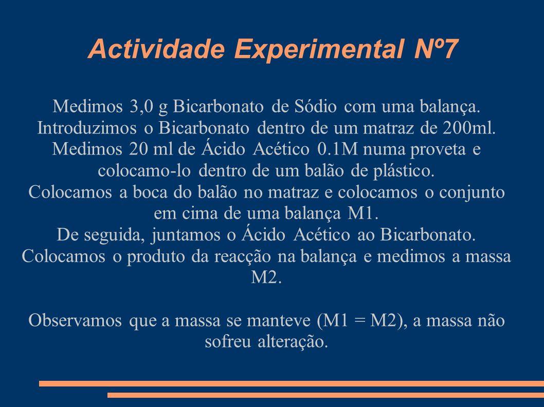 Actividade Experimental Nº7 Medimos 3,0 g Bicarbonato de Sódio com uma balança. Introduzimos o Bicarbonato dentro de um matraz de 200ml. Medimos 20 ml