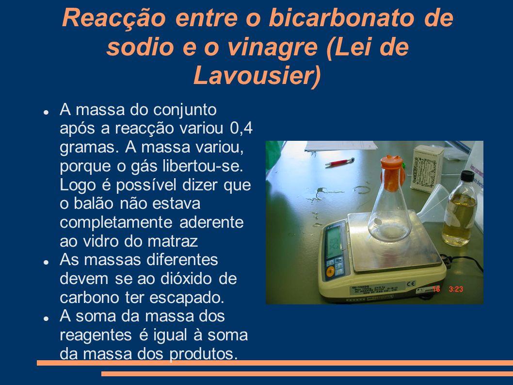 Reacção entre o bicarbonato de sodio e o vinagre (Lei de Lavousier) A massa do conjunto após a reacção variou 0,4 gramas. A massa variou, porque o gás