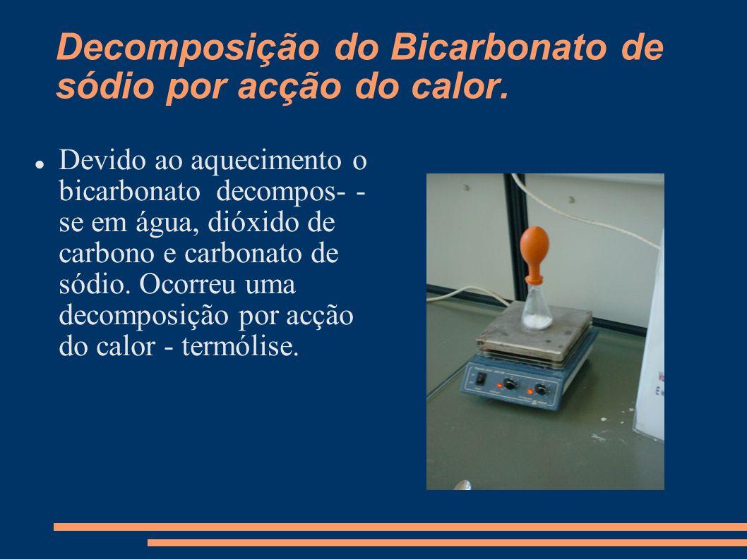 Decomposição do Bicarbonato de sódio por acção do calor. Devido ao aquecimento o bicarbonato decompos- - se em água, dióxido de carbono e carbonato de
