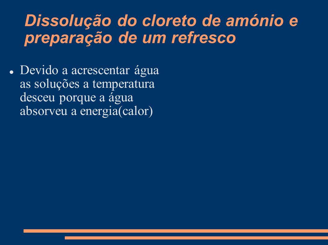 Dissolução do cloreto de amónio e preparação de um refresco Devido a acrescentar água as soluções a temperatura desceu porque a água absorveu a energi