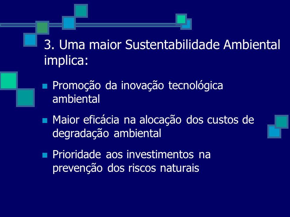 3. Uma maior Sustentabilidade Ambiental implica: Promoção da inovação tecnológica ambiental Maior eficácia na alocação dos custos de degradação ambien