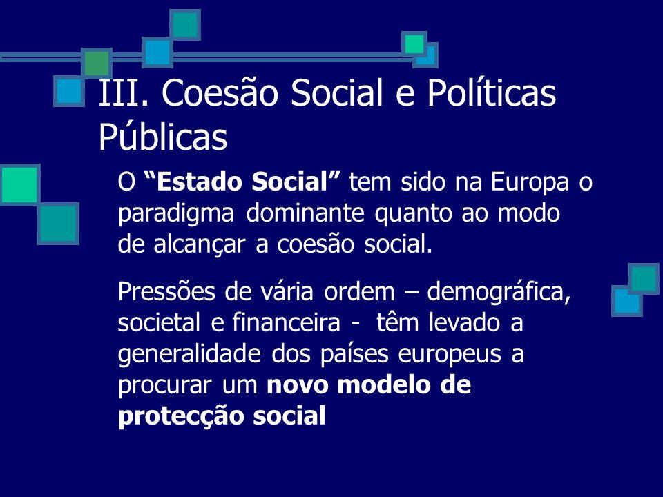 III. Coesão Social e Políticas Públicas O Estado Social tem sido na Europa o paradigma dominante quanto ao modo de alcançar a coesão social. Pressões