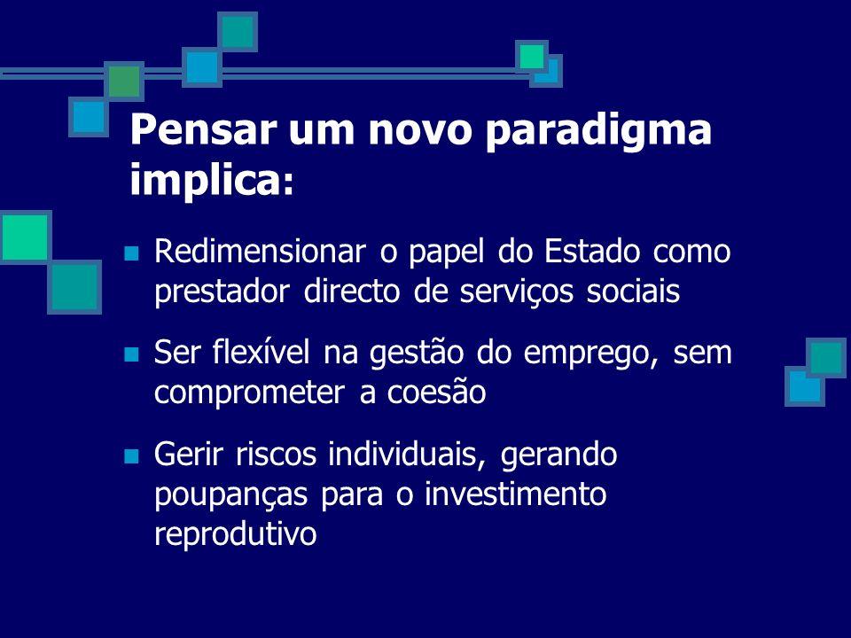 Pensar um novo paradigma implica : Redimensionar o papel do Estado como prestador directo de serviços sociais Ser flexível na gestão do emprego, sem c